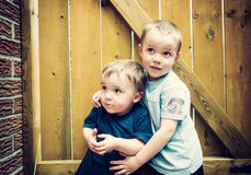 Two Boys Together Looking Up - Instagram Royalty Free Stock Images