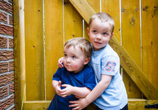 Two Boys Together Looking Up royalty free stock image