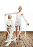 Two boys and toilet paper Stock Photography