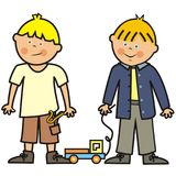 Two boys and toy, car and slingshot, vector illustration. Royalty Free Stock Photos