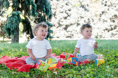 Two boys twins sitting on a red blanket with toys Stock Image