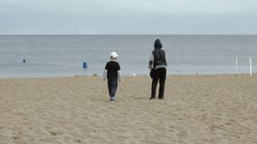 Two boys walk along the beach and look at the sea stock footage