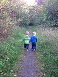 Two boys walking on a forrest path Stock Images