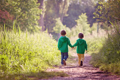 Two boys walking in park stock photography