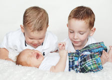 Two Boys Watch Baby Cry. Three brothers. Two brothers watch the baby cry. Vertically framed photo Stock Image