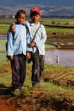 Two boys on the way to school through the rice fields Stock Image