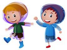 Two boys wearing raincoat Royalty Free Stock Photo