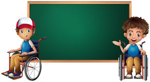 Two boys on wheelchairs by the board Stock Photos