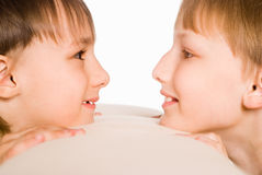 Two boys on white Stock Photography