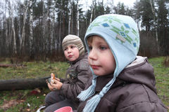 Two boys in winter forest Royalty Free Stock Images