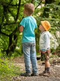 Two boys, 3 years and 7 years old on the path in the green forest look one way stock images