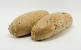 Two braed buns. Two baked braed buns with white background Stock Photo