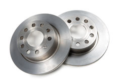 Two brake discs isolated on  white background Royalty Free Stock Photography