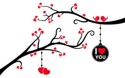 Two Branches with Hanging Love Tag and Hearts. This is an illustration of two beautiful tree branches with love tag, hanging hearts and love birds Stock Photos