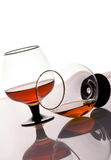 Two brandy glasses. On a white background Stock Images
