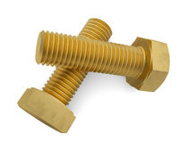 Two brass bolt. Isolated render on a white background Royalty Free Stock Photo