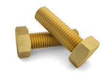 Two brass bolt. Render on a white background Stock Photos