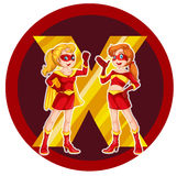 Two brave female superheroes Stock Image