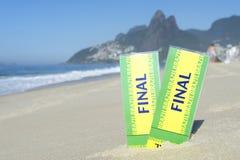 Two Brazil Final Football Tickets Ipanema Beach Stock Photo