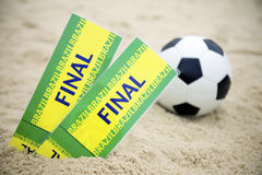 Two Brazil Final Tickets Football Soccer Ball Beach Stock Image