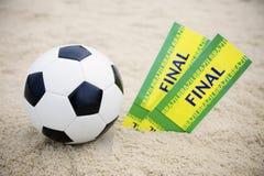 Two Brazil Final Tickets Football Soccer Ball Beach Stock Image