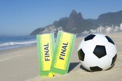 Two Brazil Final Tickets Football Soccer Ball Beach Stock Photo