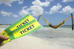 Two Brazil Tickets Brazilian Man Beach Hammock Stock Photo