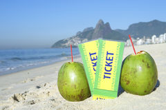Two Brazil Tickets with Coconuts Ipanema Beach Rio Stock Photos