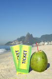 Two Brazil Tickets with Coconuts Ipanema Beach Rio Royalty Free Stock Photography