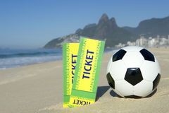 Two Brazil Tickets Football Soccer Ball Ipanema Beach Rio Stock Photo
