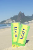Two Brazil Tickets in the Sand Ipanema Beach Rio Royalty Free Stock Photography