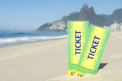 Two Brazil Tickets in the Sand Ipanema Beach Rio Royalty Free Stock Photos