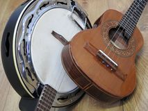 Two Brazilian string musical instruments: samba banjo and cavaquinho. royalty free stock images