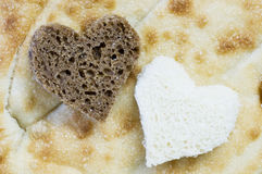 Two bread hearts Royalty Free Stock Photography