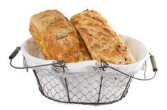 Two bread loaves in basket Royalty Free Stock Photos