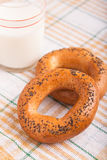 Two bread-ring with milk Royalty Free Stock Photo