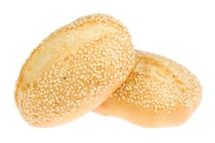 Two bread rolls on white. Royalty Free Stock Images
