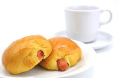 Two Bread with Sausage on white plate Stock Photo