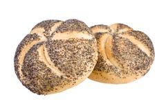 Two breadrolls. On white background Royalty Free Stock Photos