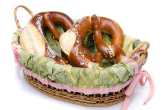 Two bretzel in a basket Royalty Free Stock Images