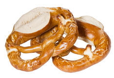 Two bretzel. Bretzel pair, baked german bread Stock Images