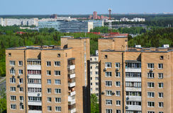 Two brick houses in Top view of Zelenograd Administrative District, Moscow royalty free stock photos