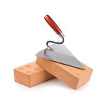 Two bricks with trowel Stock Image