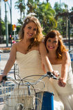 Two brides on a bicycle royalty free stock images