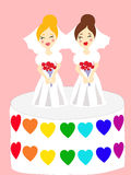 Two brides on the cake Stock Photos