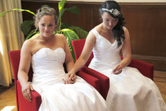 Two brides getting married hold hands Stock Image