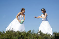 Two brides play rugby in wedding dress against blue sky Stock Images