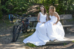 Two brides pose on wooden bench in forest with mountain bikes ne Stock Photography