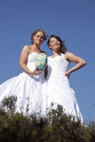 Two brides with rugby ball against blue sky background Stock Photography