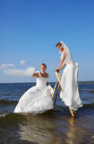 Two brides on stepladder Stock Images